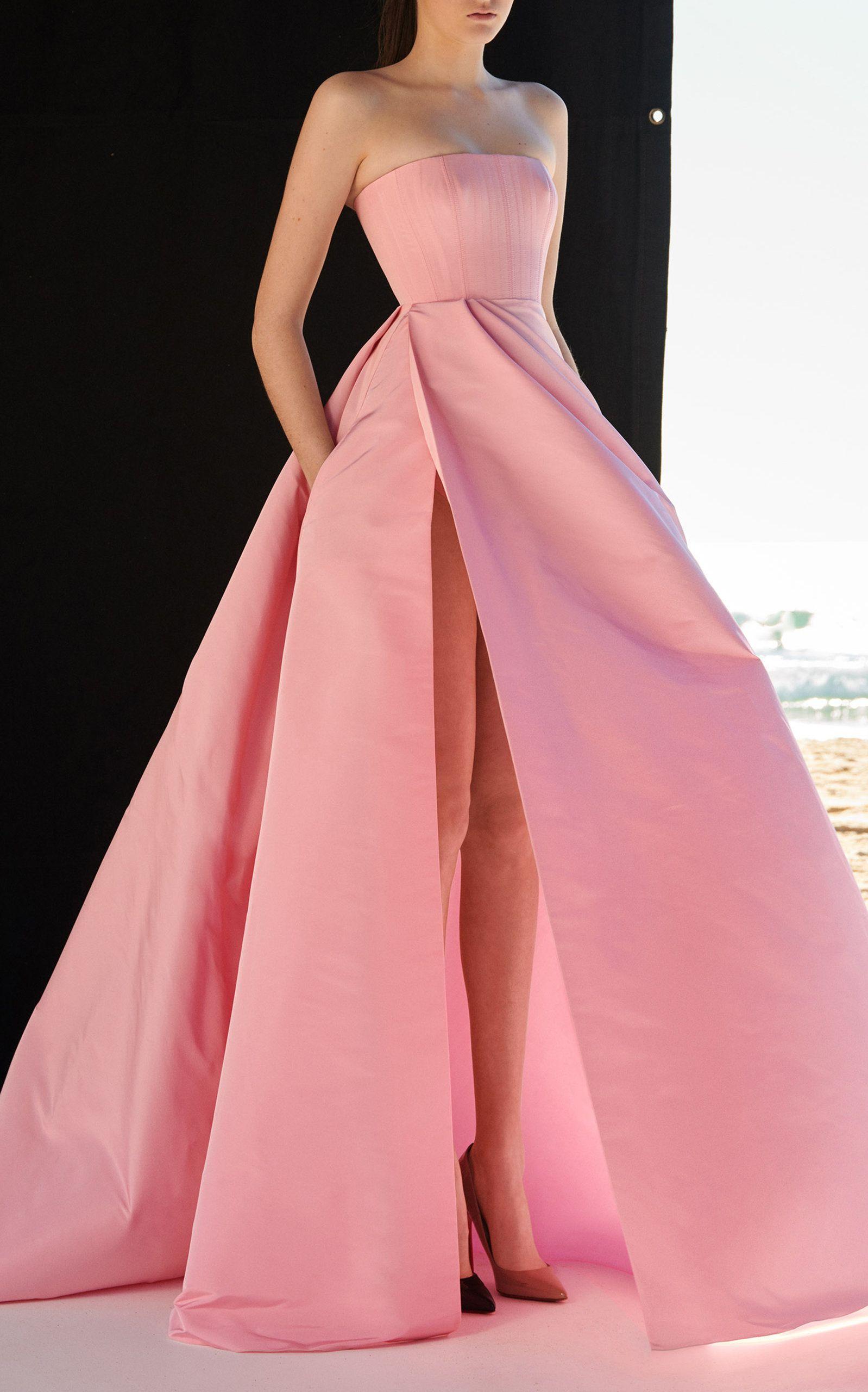 Valeria strapless silk grosgrain gown pink silk grosgrain gown