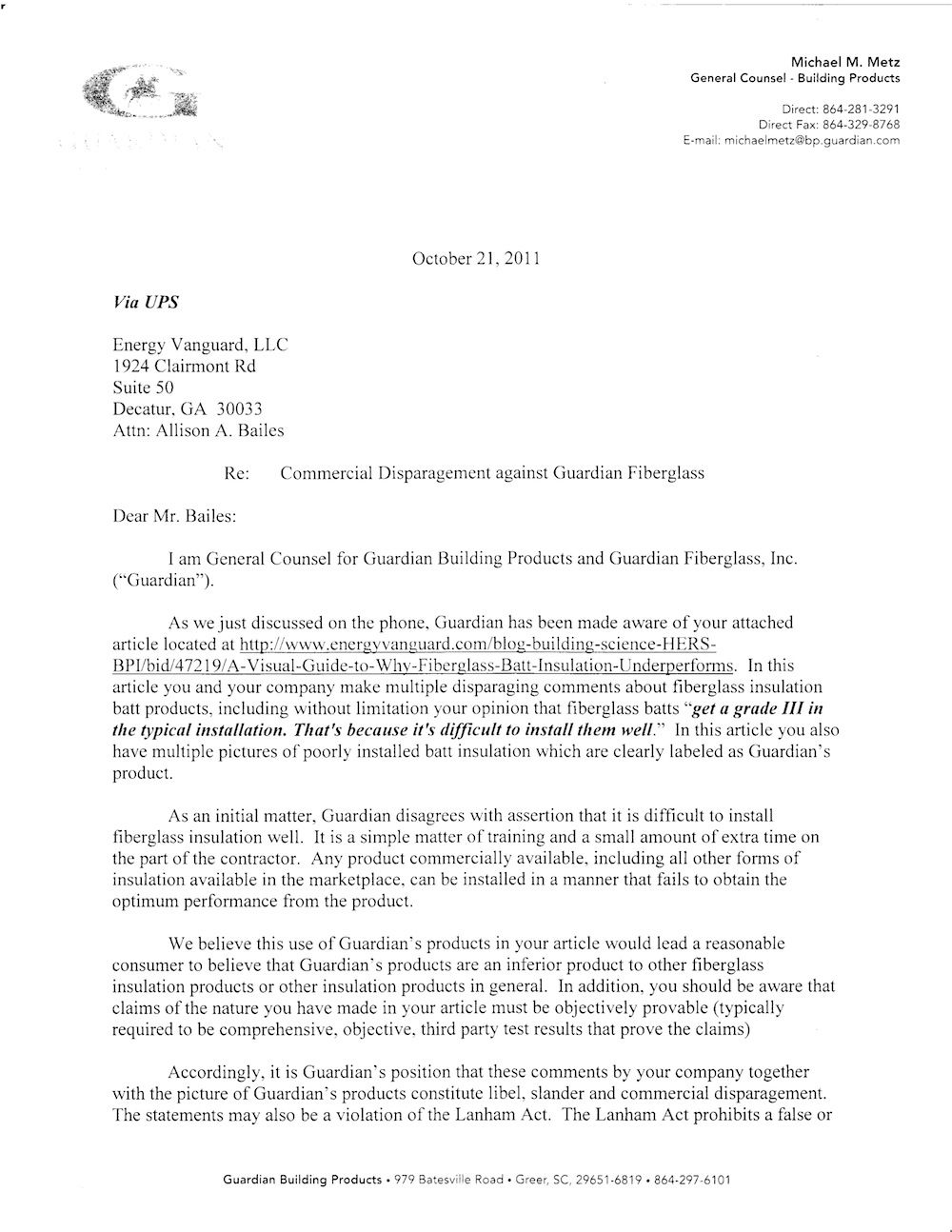 GuardianBuildingProducts    Legal Letter  Real State