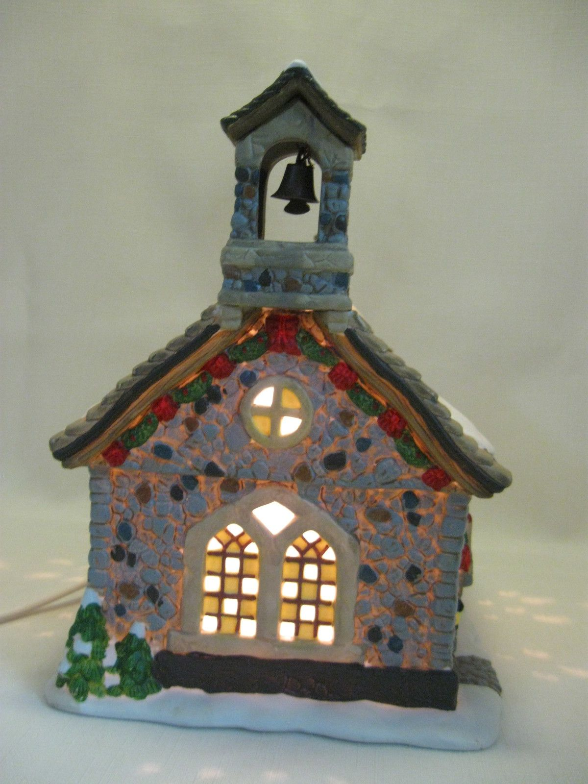 Porcelain Christmas Holiday With Power Light Cord Pine ...