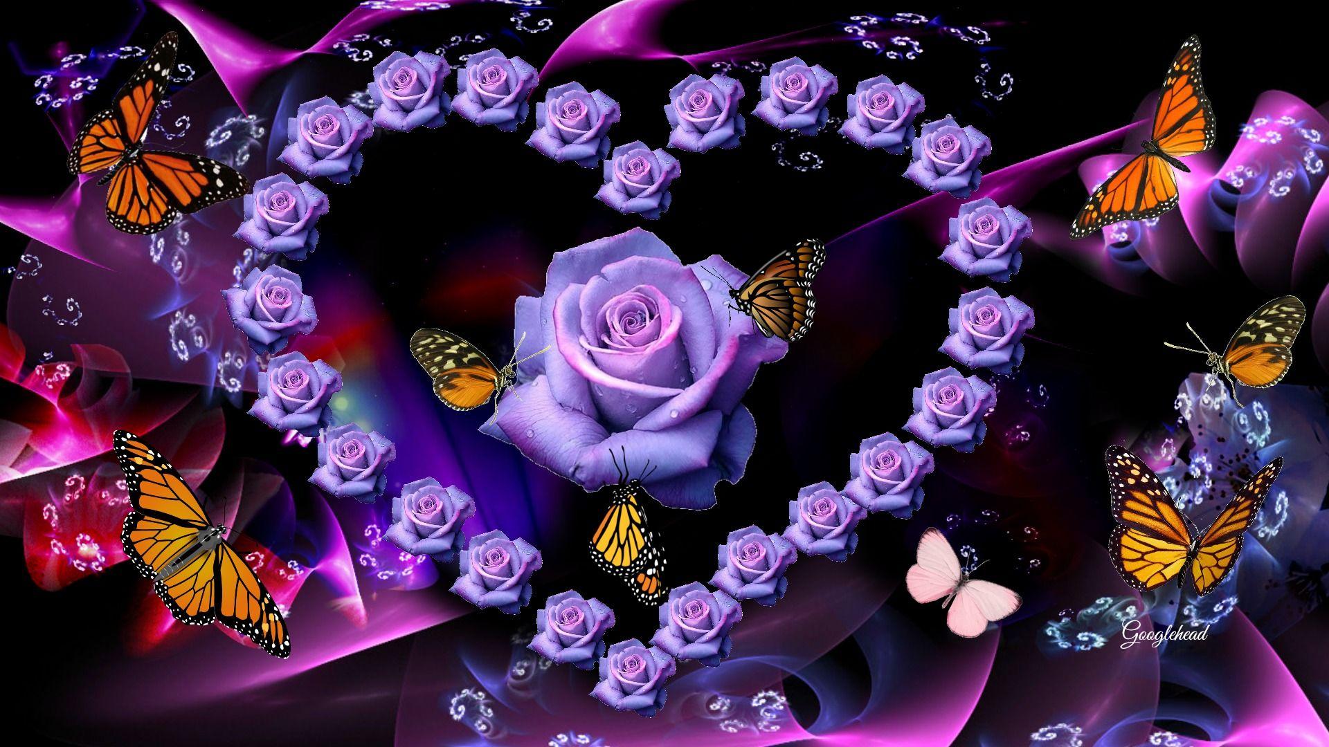 Roses Heart Butterflies Fantasy Hd Desktop Background ...