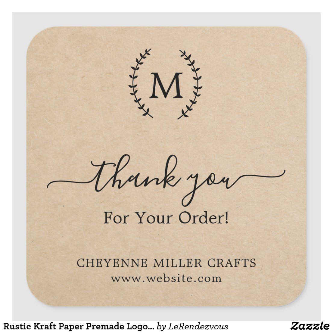 Thank You Business Rustic Kraft Paper Premade Logo Square Sticker Zazzle Com In 2021 Etsy Packaging Small Business Packaging Ideas Packaging Ideas Business