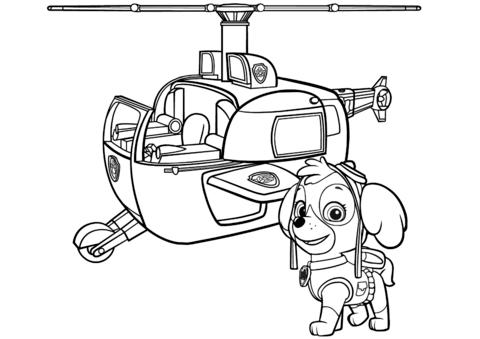 Paw Patrol Skye S Helicopter Coloring Page Paw Patrol Paw Patrol