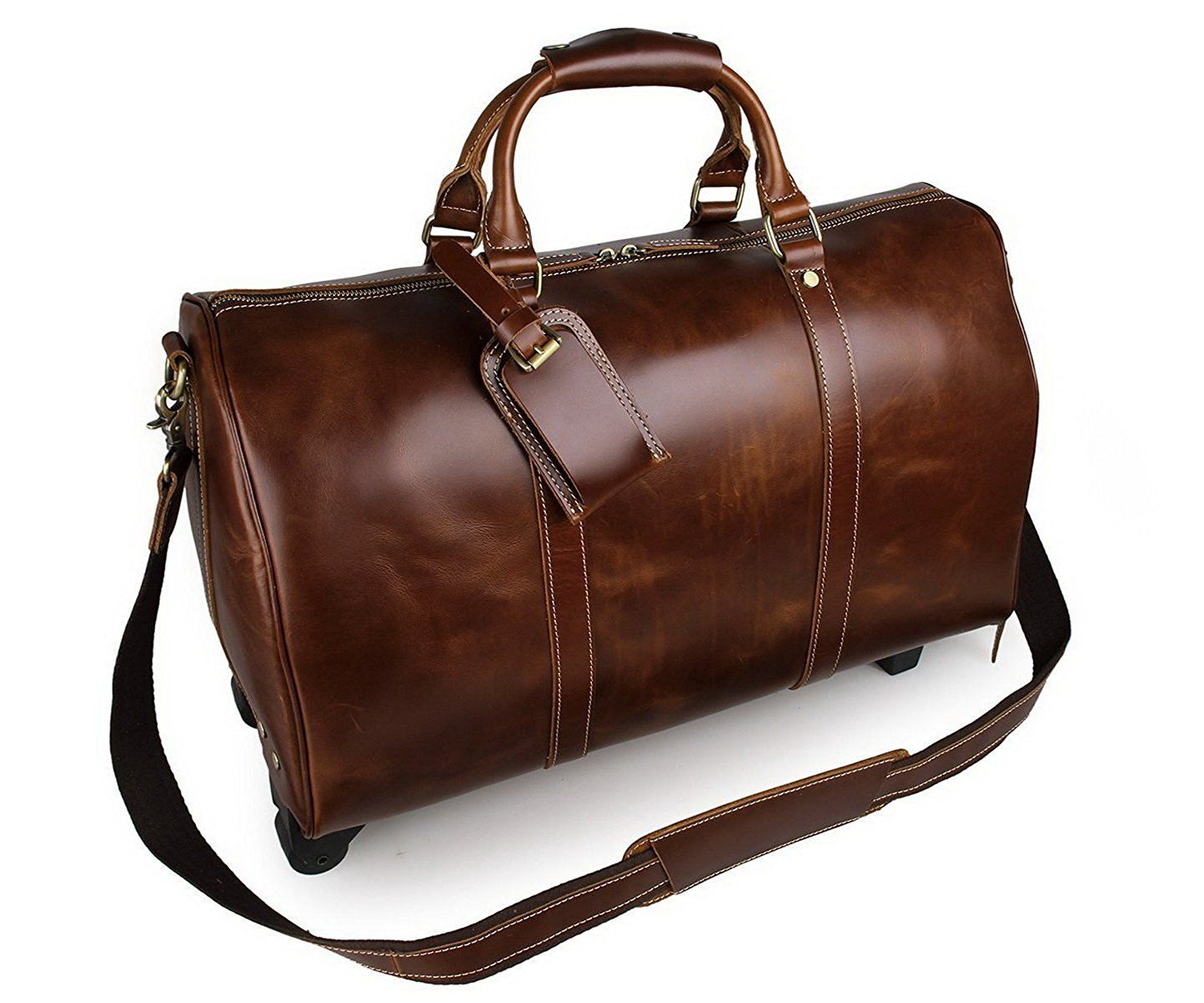 854858728 Amazon.com | BAIGIO Leather Travel Duffle Wheels Carry-on Luggage Luxury Weekend  Bag 20