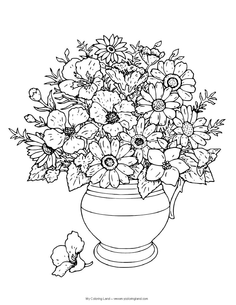 Flower coloring in pages - Complicated Flower Coloring Pages