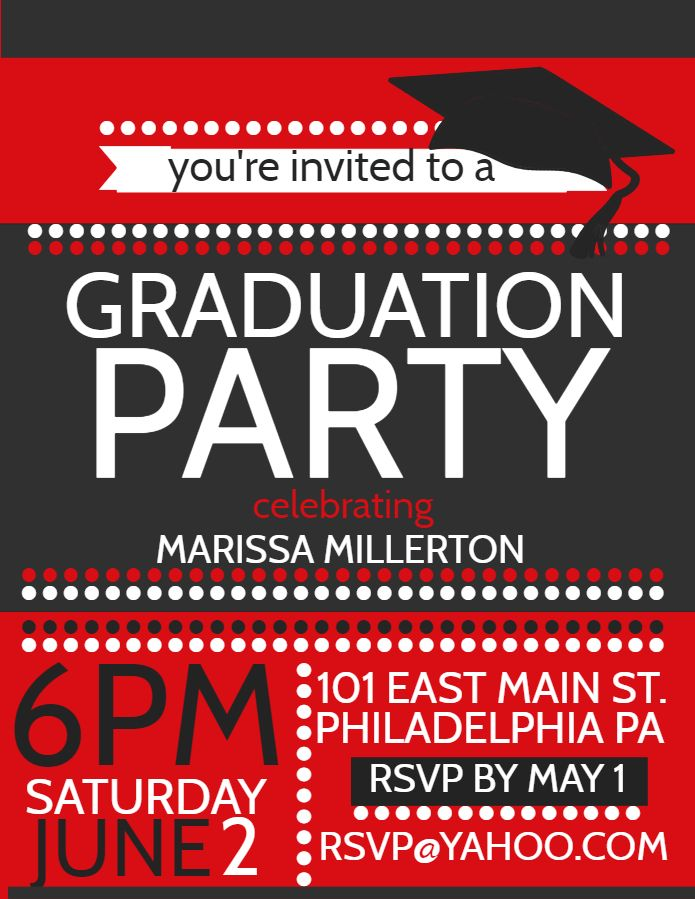 Graduation party invitation flyer poster template - red Graduation