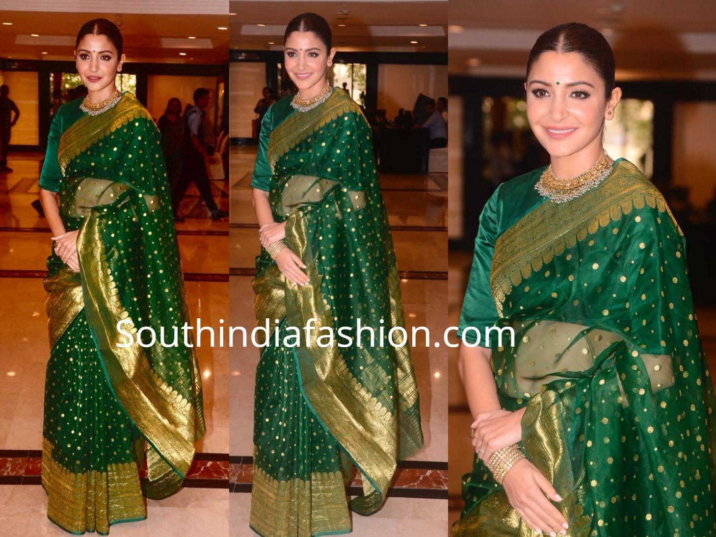 4408395ab Anushka Sharma in a green saree at Priyadarshini Academy Global Awards –  South India Fashion https