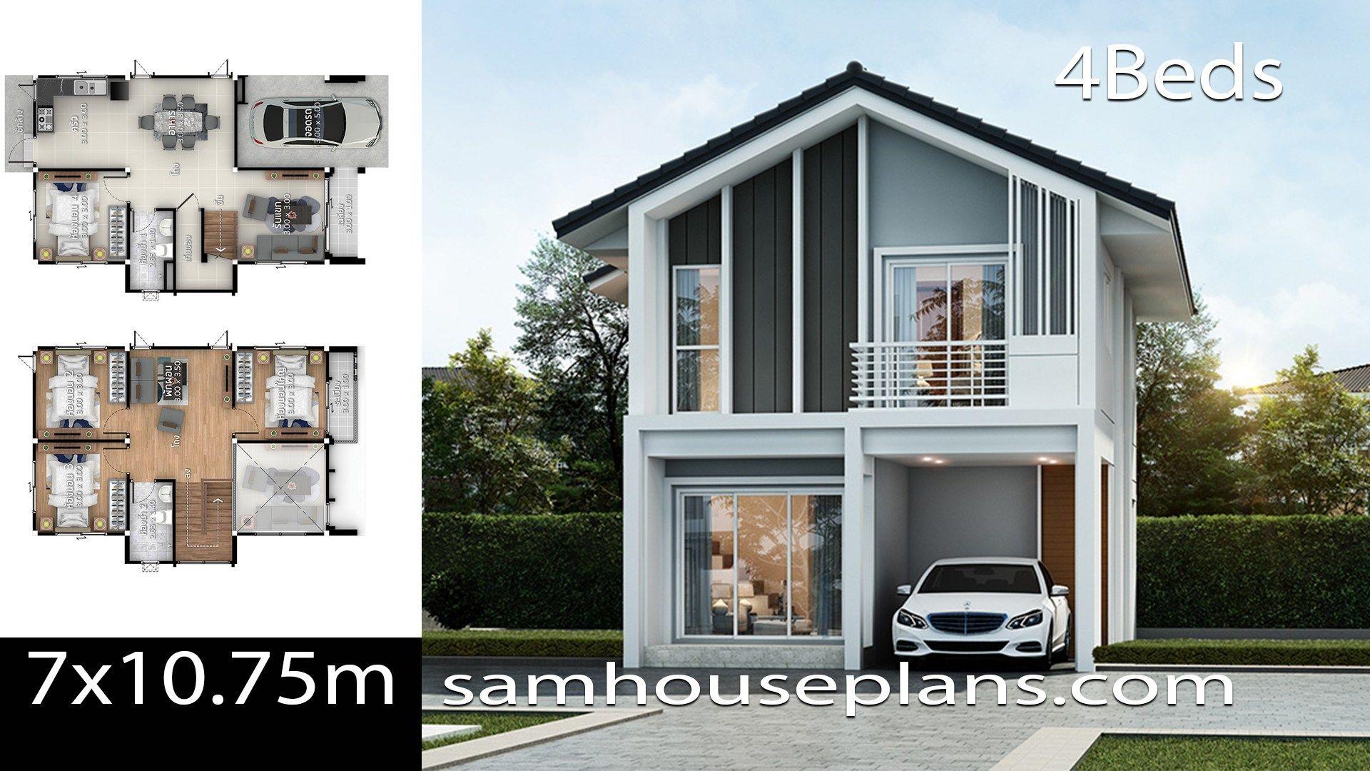 Https I2 Wp Com Samhouseplans Com Wp Content Uploads 2019 09 House Plans Idea 7x10 75 With 4 Bedrooms Jpg W 1 Di 2020 Desain Eksterior Denah Rumah Denah Desain Rumah