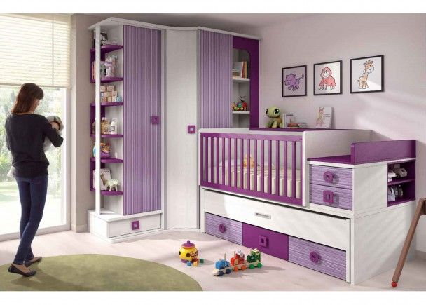 Dormitorio Bebé Cuna Convertible y Armario | habitacion de bebe ...