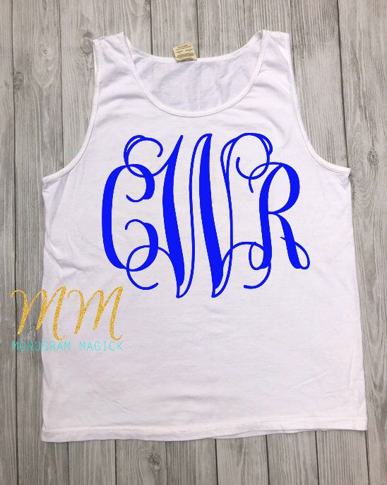 661341b2bfd75 ... item from my #etsy shop: Monogrammed Comfort Color Tank, Personalized  Comfort Color Tank, Full Chest Monogram Tank, Monogrammed Beach Cover Up # clothing ...