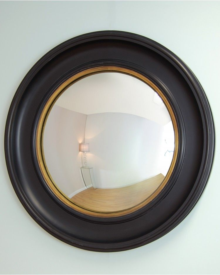 Swarthmoor Round Mirror with Black Porthole Wooden Frame | Dining ...