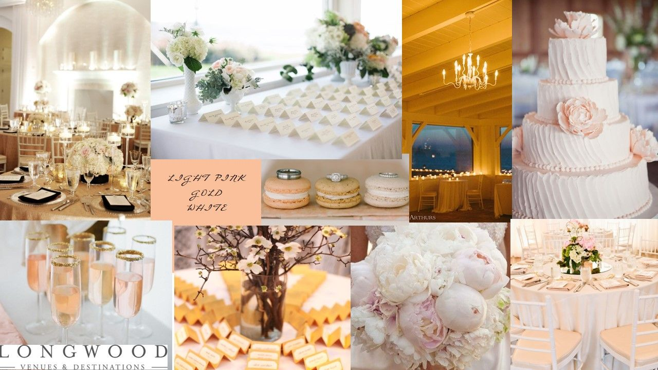 Light Pink, Gold and White Inspiration Board LOVE this color scheme...