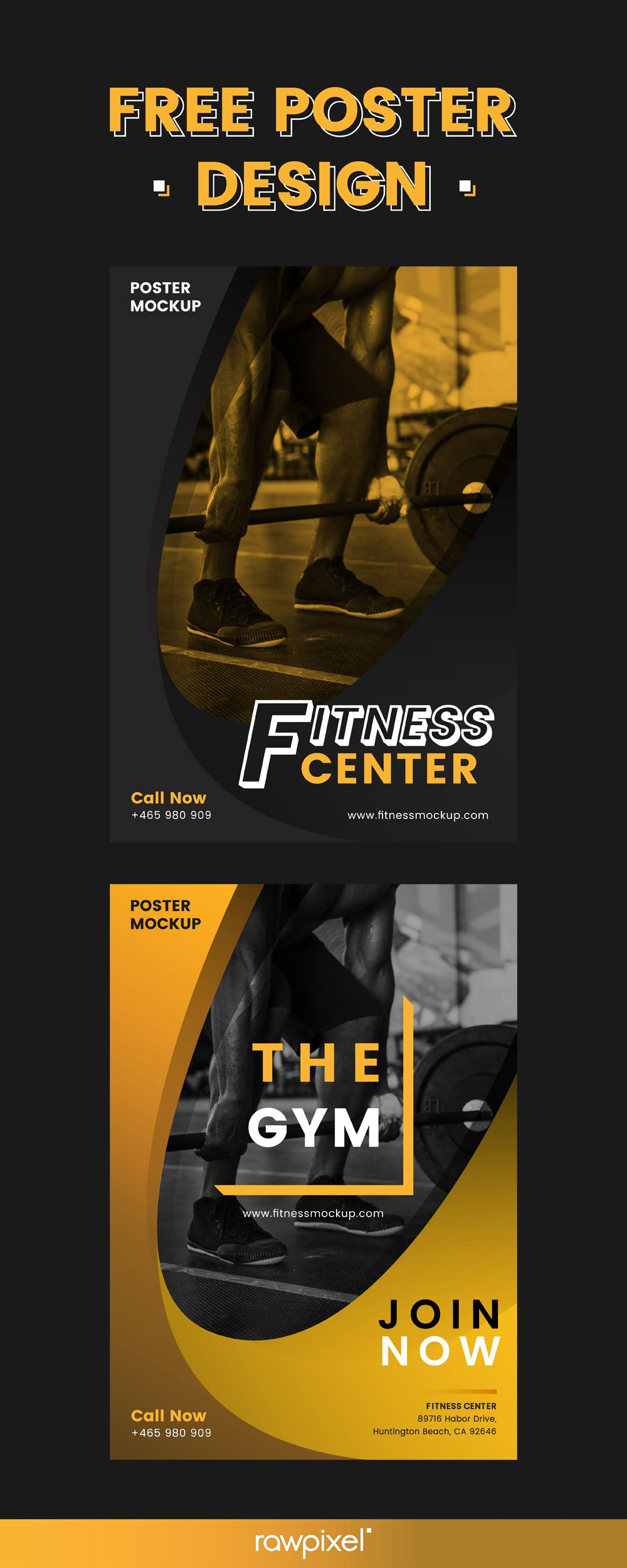 Download Free Poster Templates For Fitness Centers And Sports Gyms At Rawpixel Com Poster Design Layout Gym Poster Free Poster