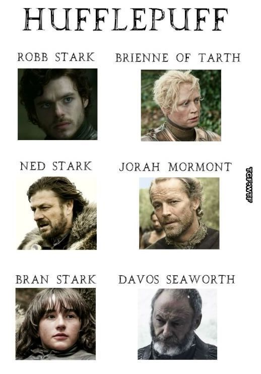 If Game Of Thrones Characters Were In Hogwarts Houses Game Of Thrones Instagram Got Memes Game Of Thrones Facts