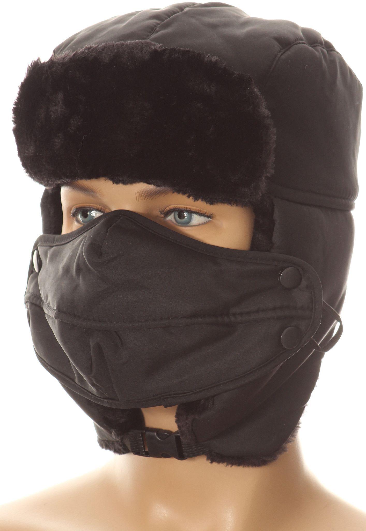 47e15447dc15d1 Sakkas Esty Adjustable Chin Buckle Faux Fur Lined Face Mask Unisex Trooper  Hat