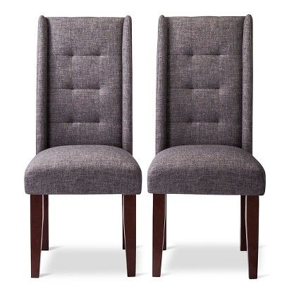 Charlie Modern Wingback Pin Tuck Dining Chair Set Of 2
