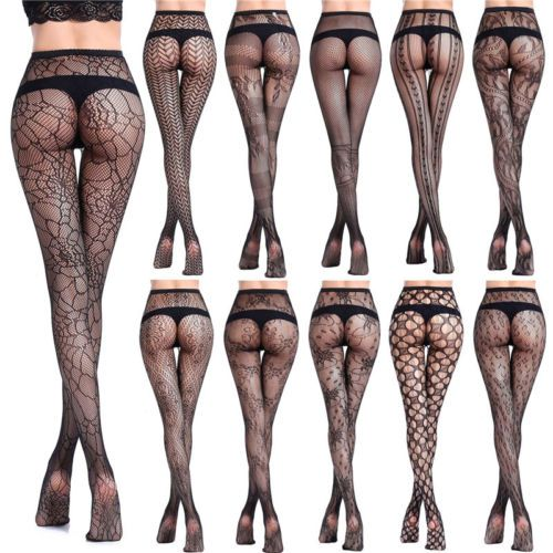 d5b30333308 Women s Black Lace Fishnet Hollow Out Floral Pantyhose Tights ...
