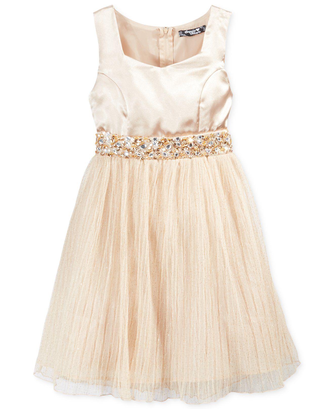 a147f8c10f9c7 Sequin Hearts Girls Dress, Girls Embellished-Waist Dress - Kids ...