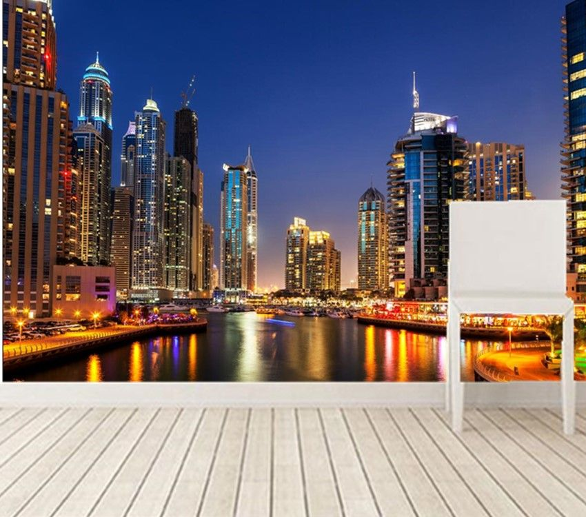 Home Designliving Room: Custom 3D Murals.Dubai Skyscraper Rivers Night City Modern