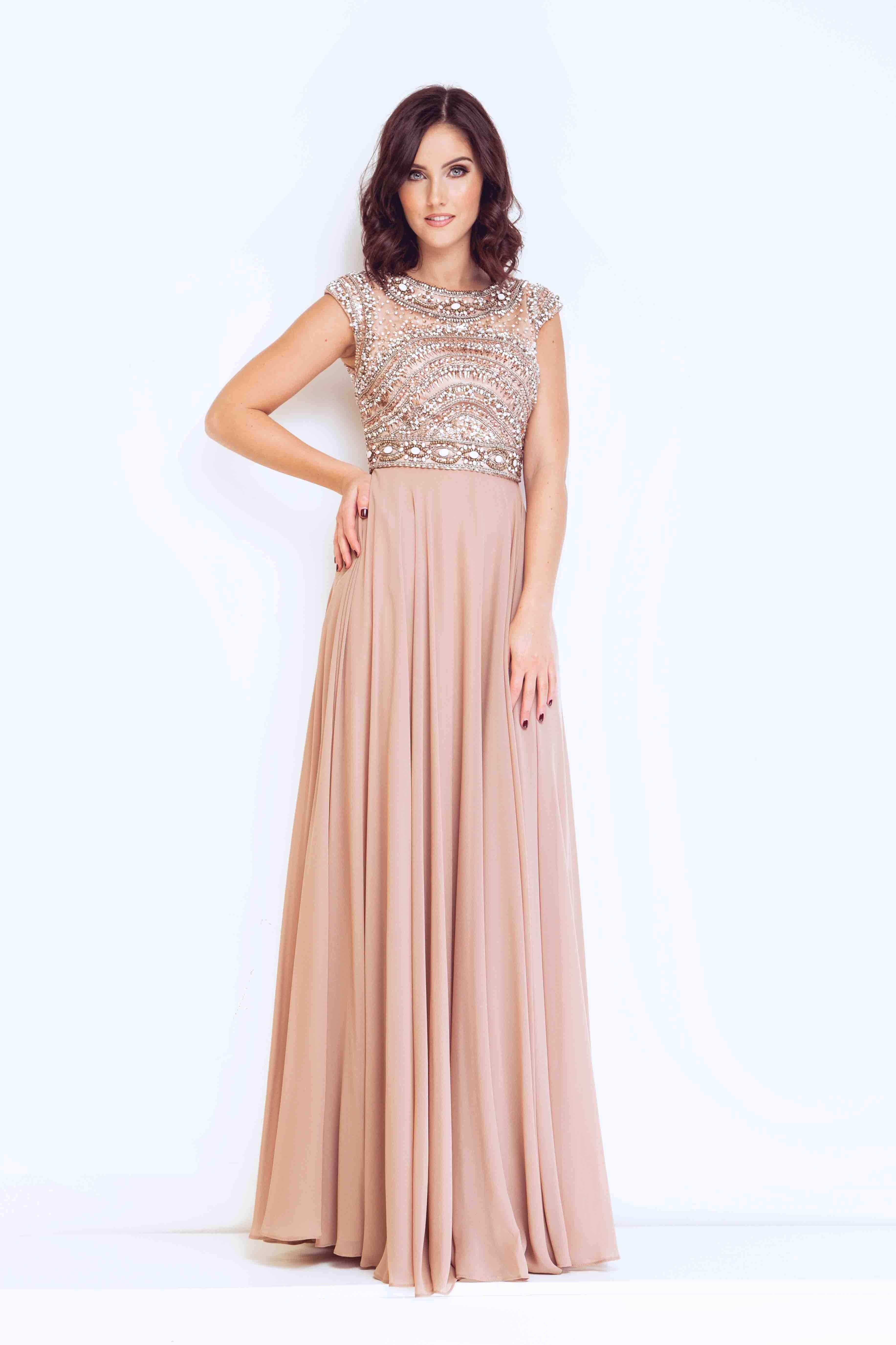 Giselle Beige Long Dress no Shawl Style 1012923 | wedding ...