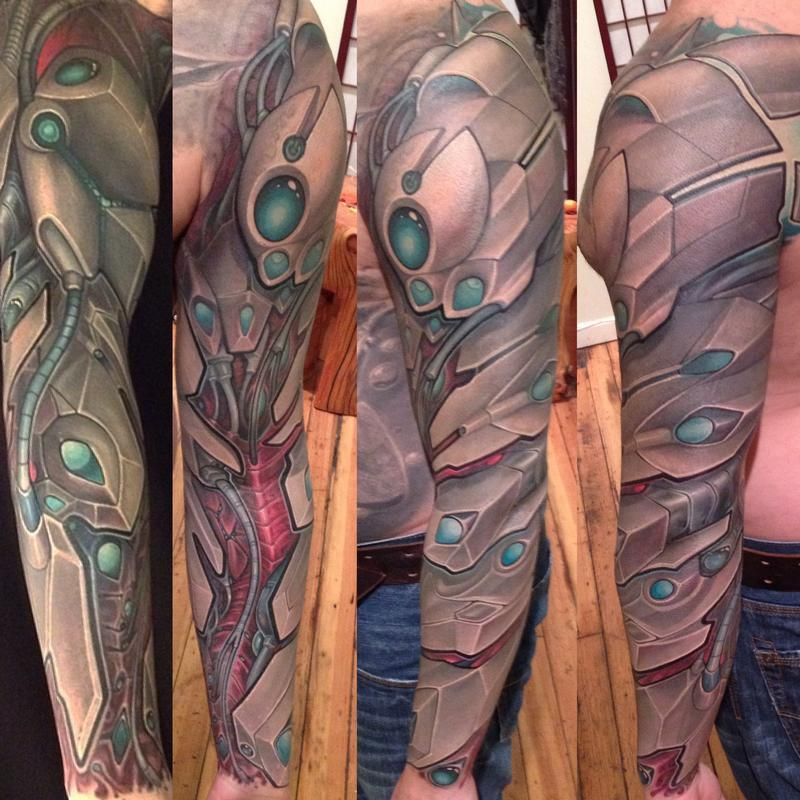 Image result for full sleeve colored biomech tattoo Full