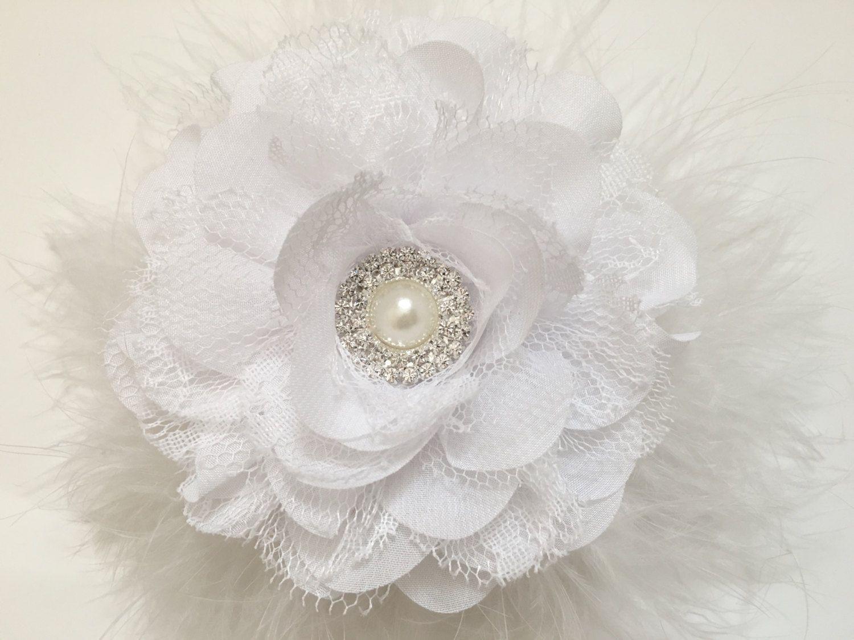 Bridal Flower Hair Clip White Ivorypeach Silver Gray Flower