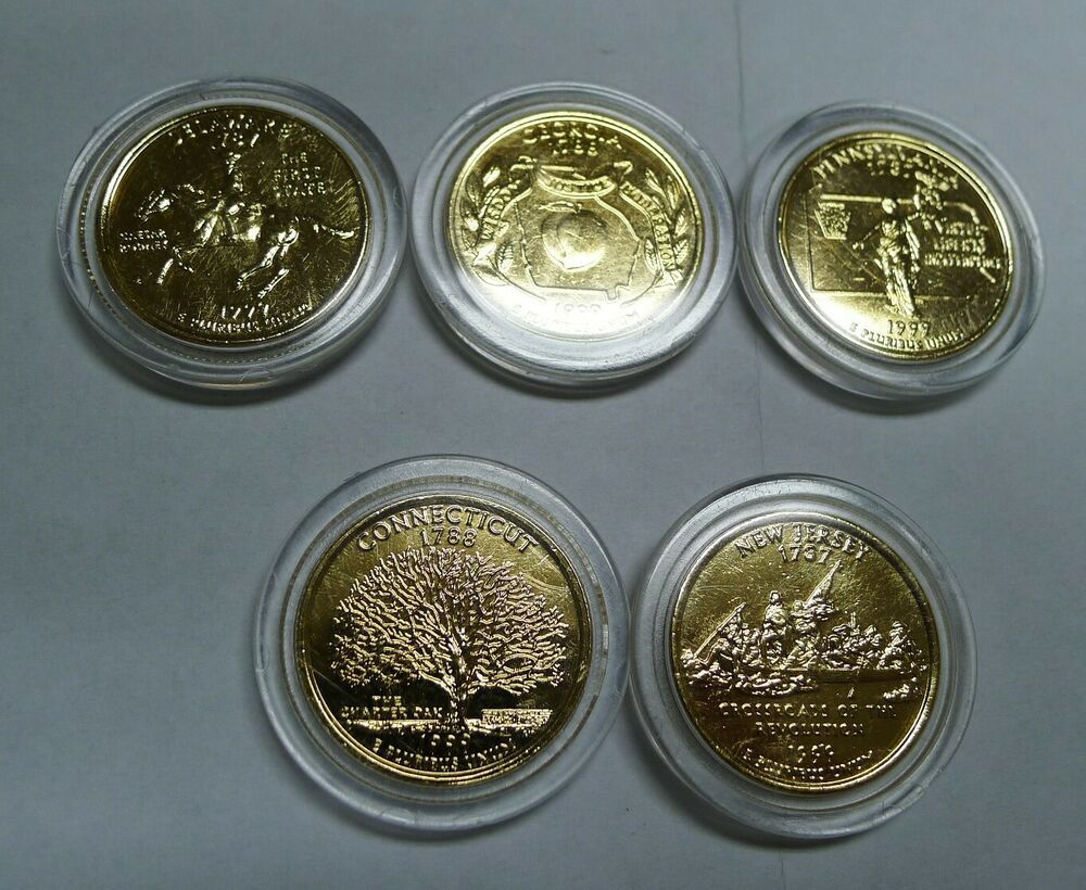 Complete 1999 Set Of Gold Plated State Quarters 5 Coins Afflink Contains Affiliate Links When You Click On Links To Various Merchant Plating 5 Coin Gold
