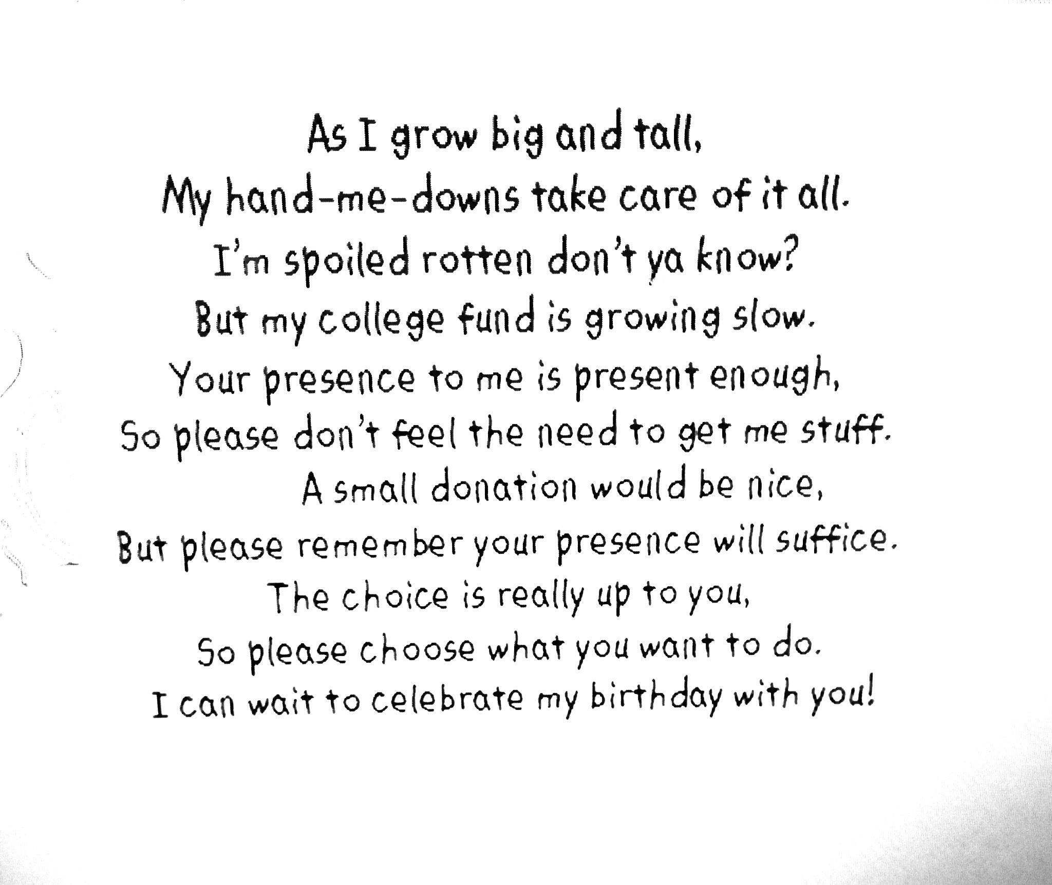 Poem for Birthday Invitation to help raise college fund money in a ...