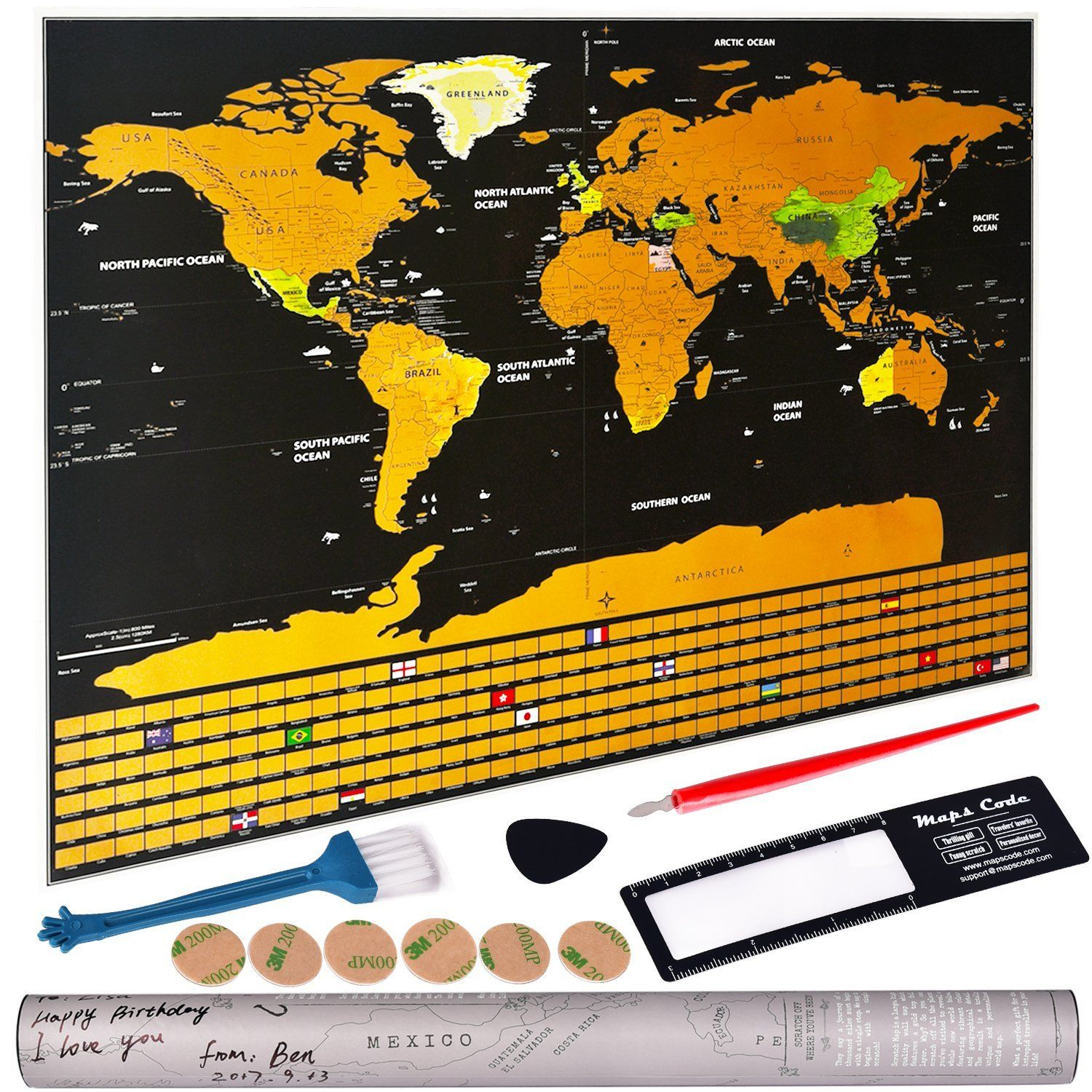 Amazon scratch off world map personalized travel tracker map amazon scratch off world map personalized travel tracker map with us states all country flags rub off coin scratchable wall poster deluxe edition gumiabroncs Images