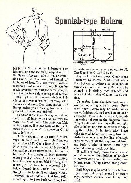 1950\'s Wardrobe- the Bolero Jacket   Boleros, Vintage sewing ...