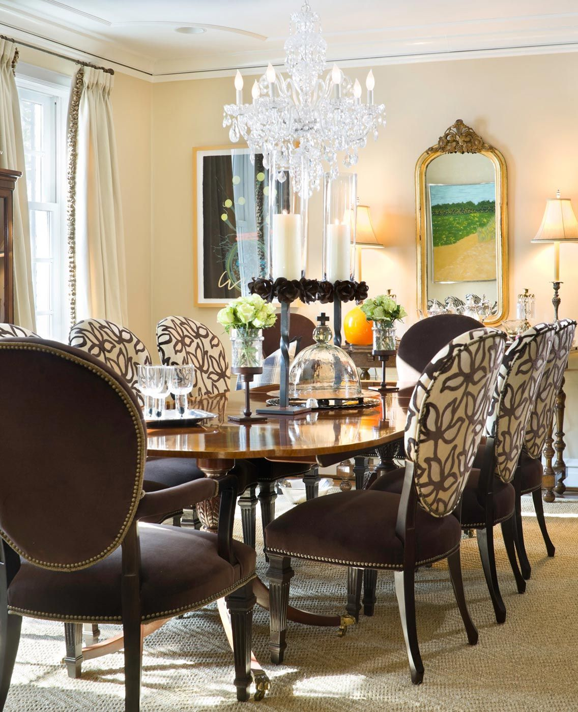Good job with the fabric combos on chairs  tribout interior design also rh pinterest