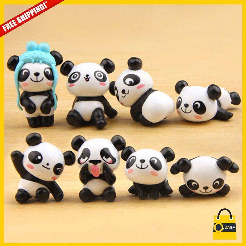 8Pcs Kawaii Panda Action Figures Kids toy Gift Mini PVC Preschool Toy Set 0cn
