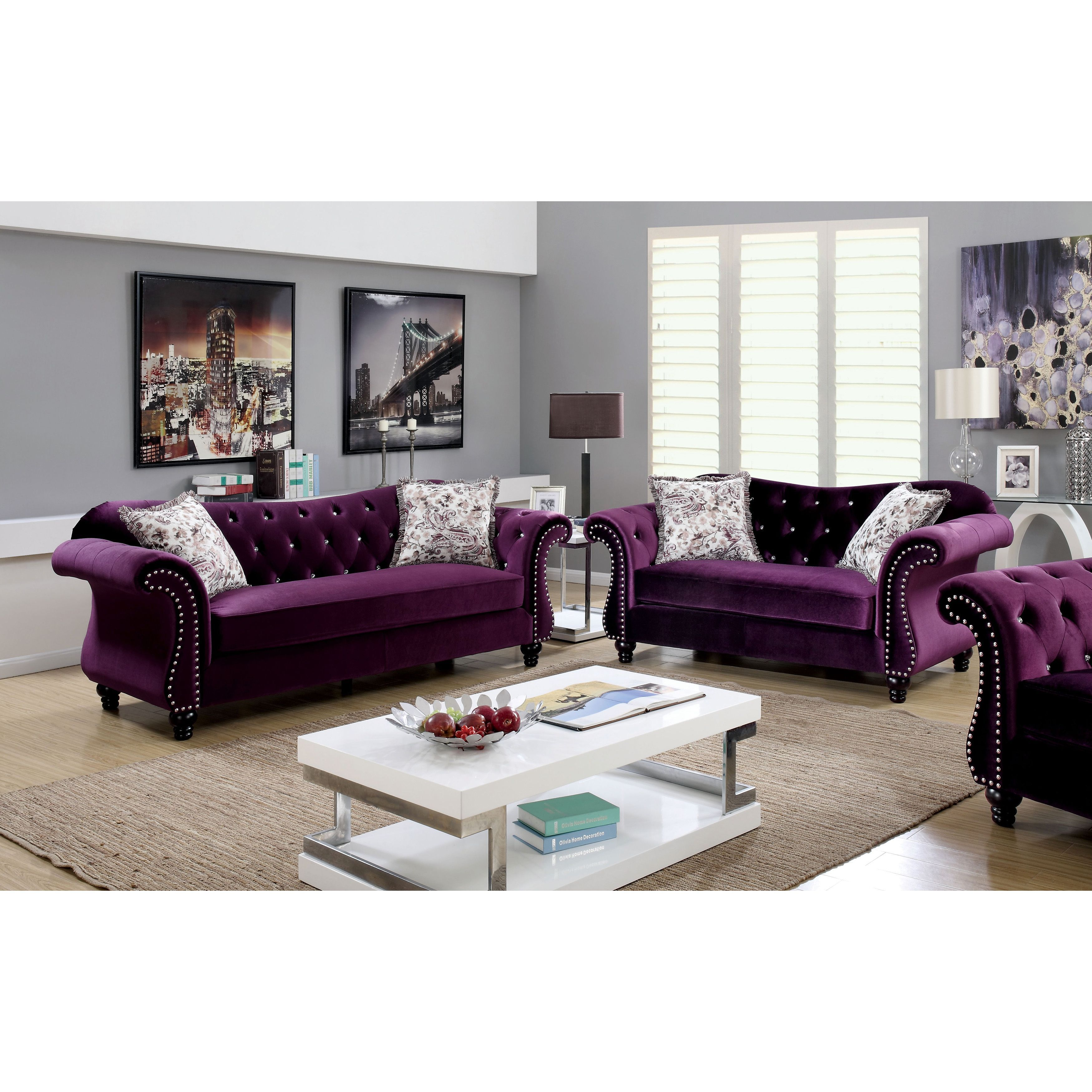 Perfect Furniture Of America Dessie Traditional 3 Piece Tufted Sofa Set (Plum),  Purple