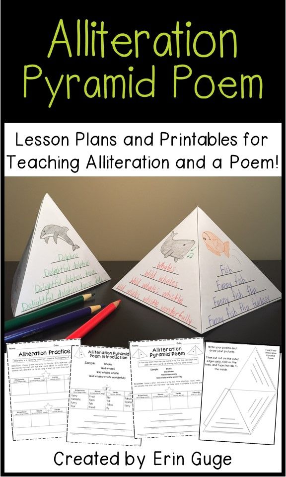 Alliteration Pyramid Poem Lesson Plans And Printables Distance Learning Poetry Lessons Poetry For Kids Poem Lesson