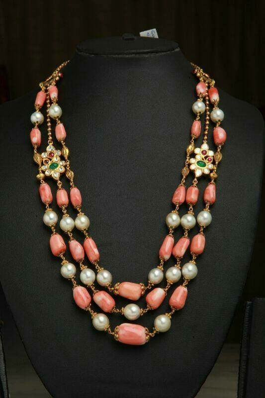 41cbfe9fd21027 Art And Craft Jewelry. pearl coral necklace with diamond/emerald/ruby  mogappu