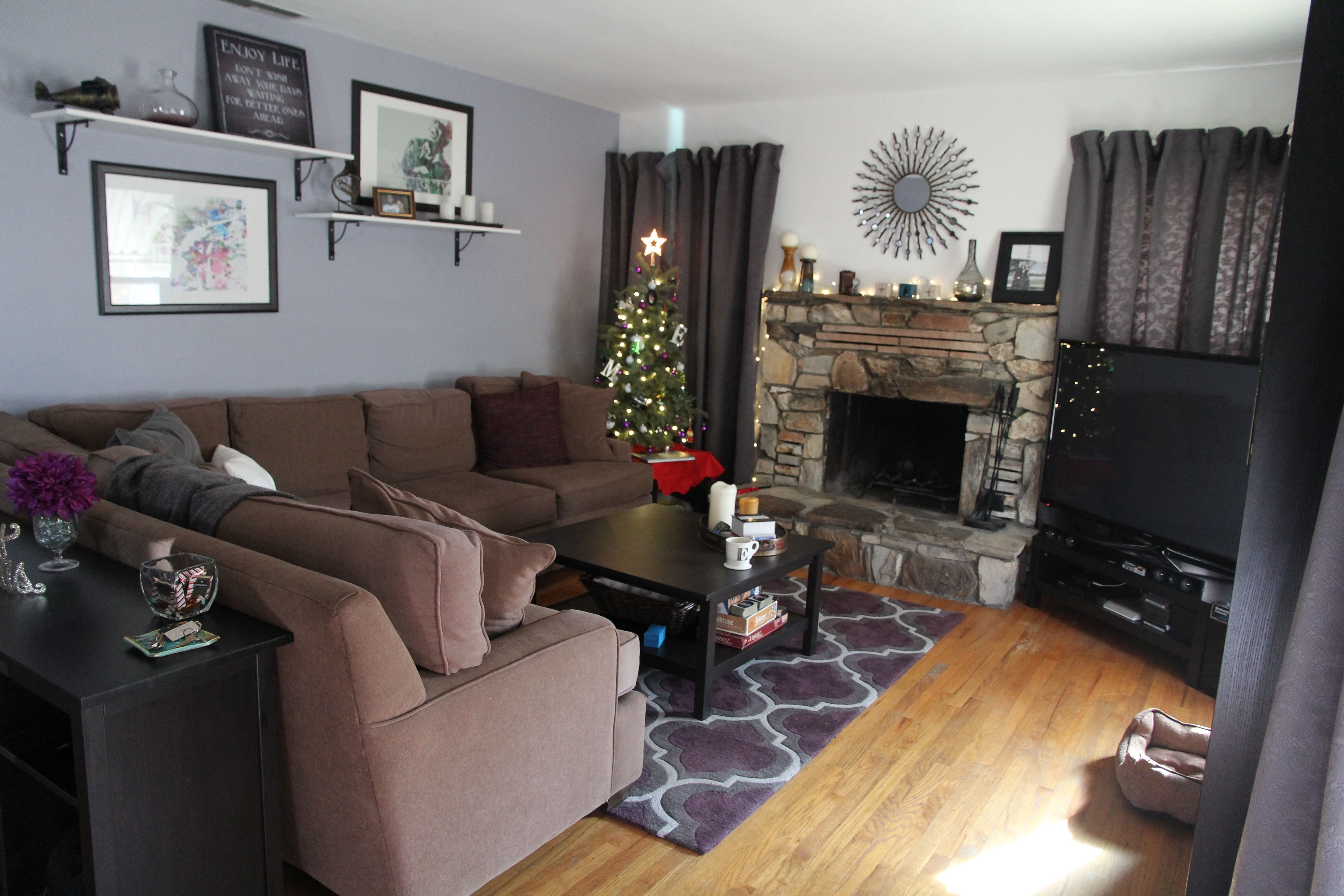 Brown and purple living room - Our Almost Finished Living Room Cool Grey Blue Walls Stone Fireplace Brown