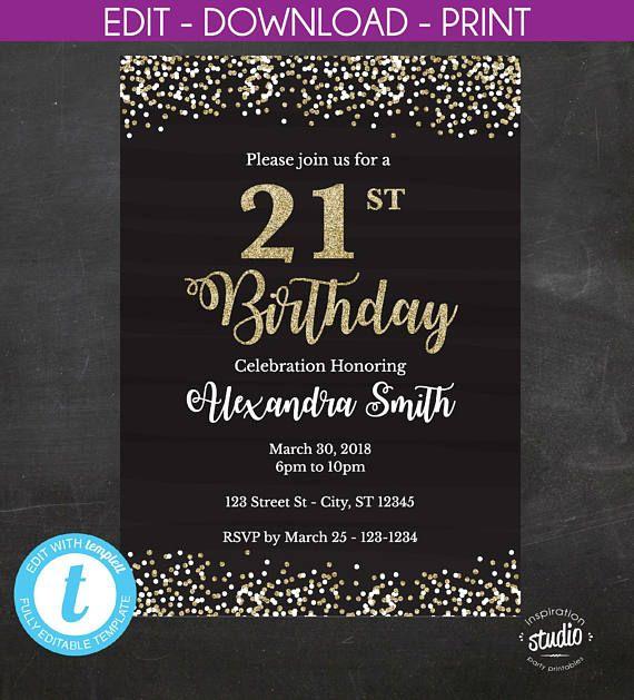 Editable 21st Birthday Invitation 21st Birthday Invite Black And Gold Glitte 65th Birthday Invitations 40th Birthday Invitations 70th Birthday Invitations