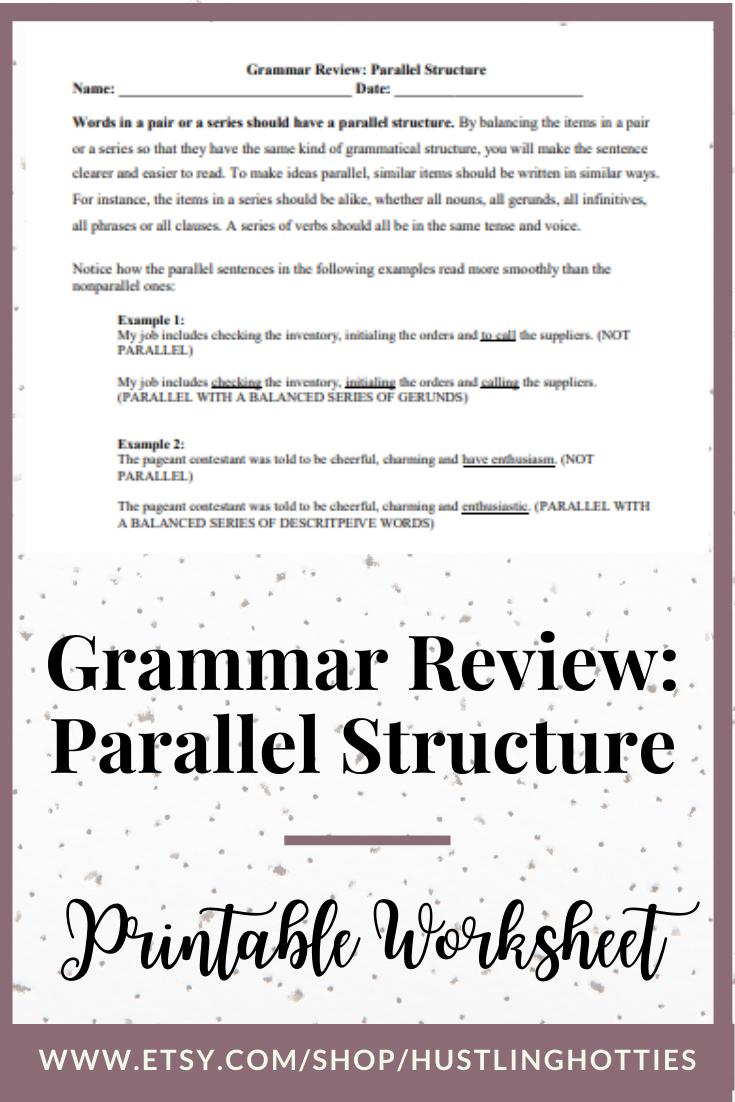 Grammar Review Parallel Structure Printable Exercise Worksheet Grade 5 6 7 8 9 Home Schoo Homeschool Worksheets Homeschool Grammar Review [ 1102 x 735 Pixel ]