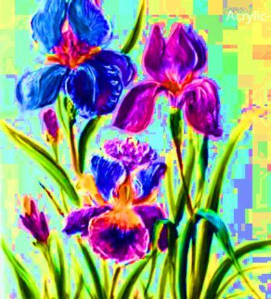 Dessin et peinture - vidéo 2107 : De la technique pour peindre des iris et autres fleurs, avec couteau et pinceau - peinture acrylique