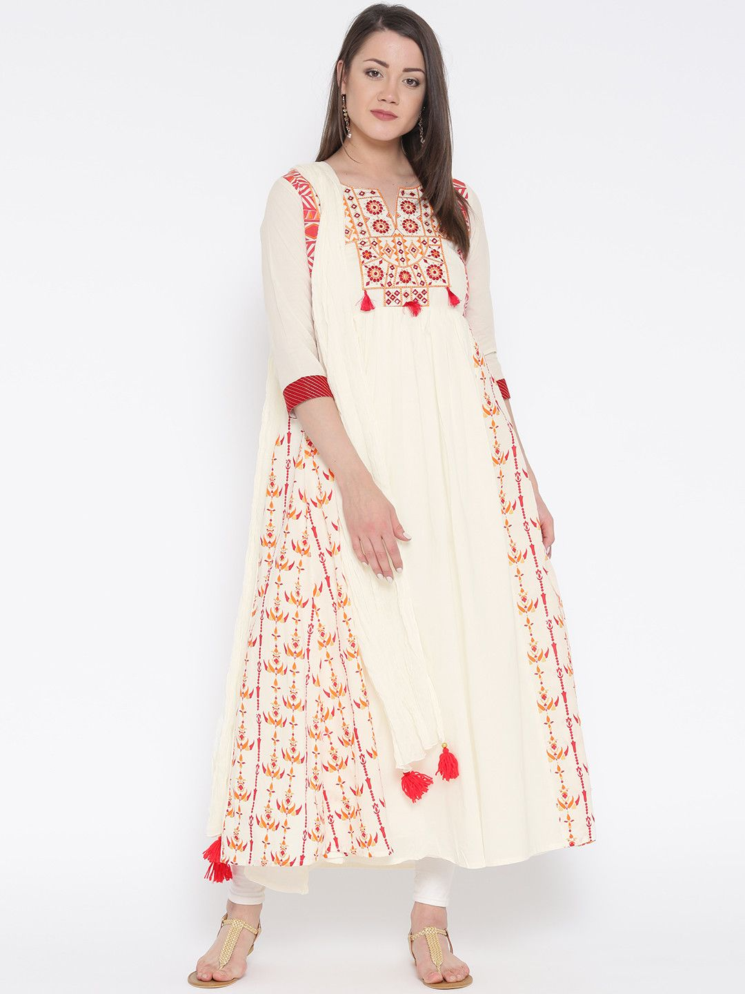 810a06987 TRISHAA BY PANTALOONS Off-White Embroidered Printed Anarkali Kurta with  Dupatta