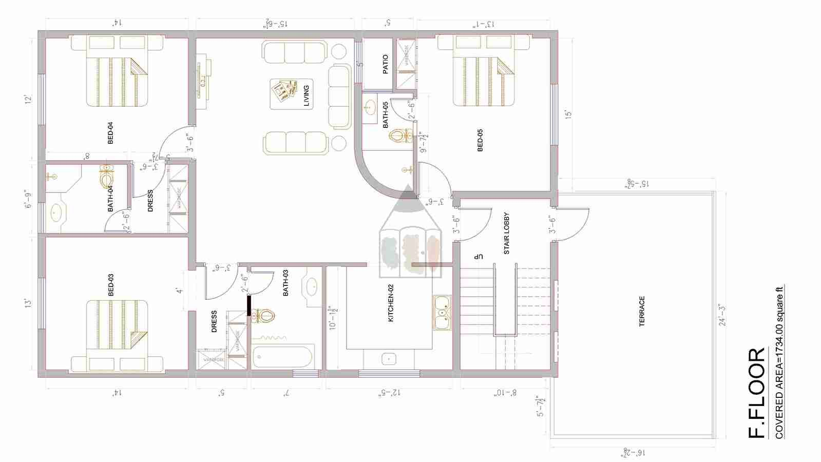 The size of 14 marla house plan is very popular in Pakistan