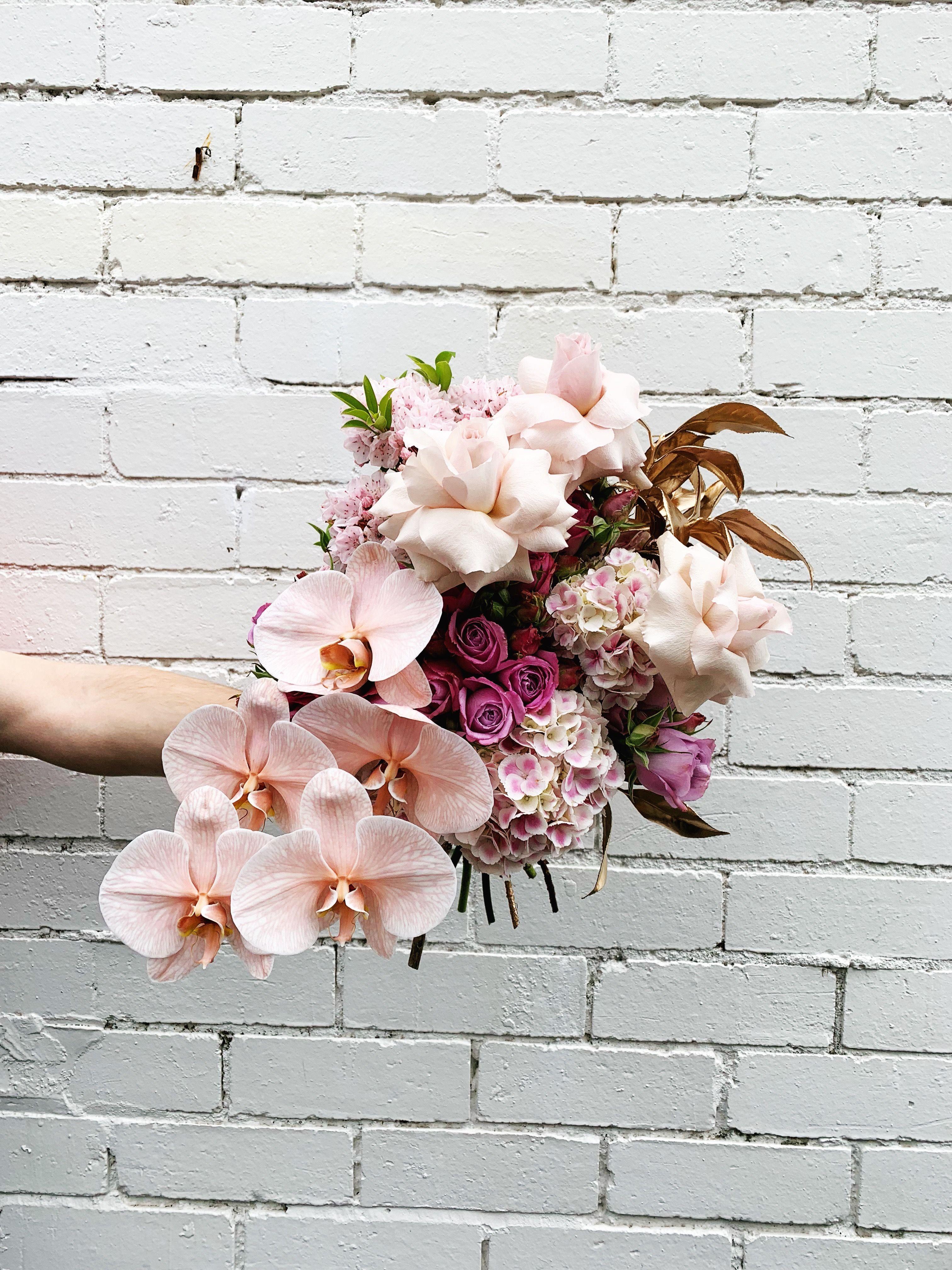 Hooray Flowers By Brett Matthew John Blooms Wedding Florals Whimsical Flowers B Orchid Bouquet Wedding Wedding Bouquets Pink Modern Wedding Bouquets