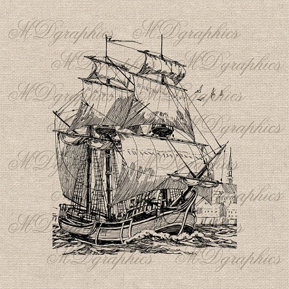 Vintage Ship Boat Illustration Digital Graphic Image Instant Download Transfer To Pillows Tote Tea Towels Burlap Wall decor - gr123