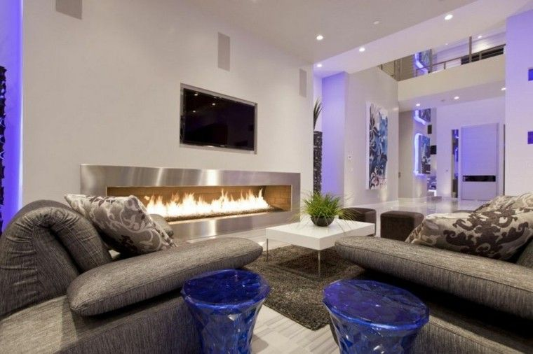 casa moderna led chimenea azul