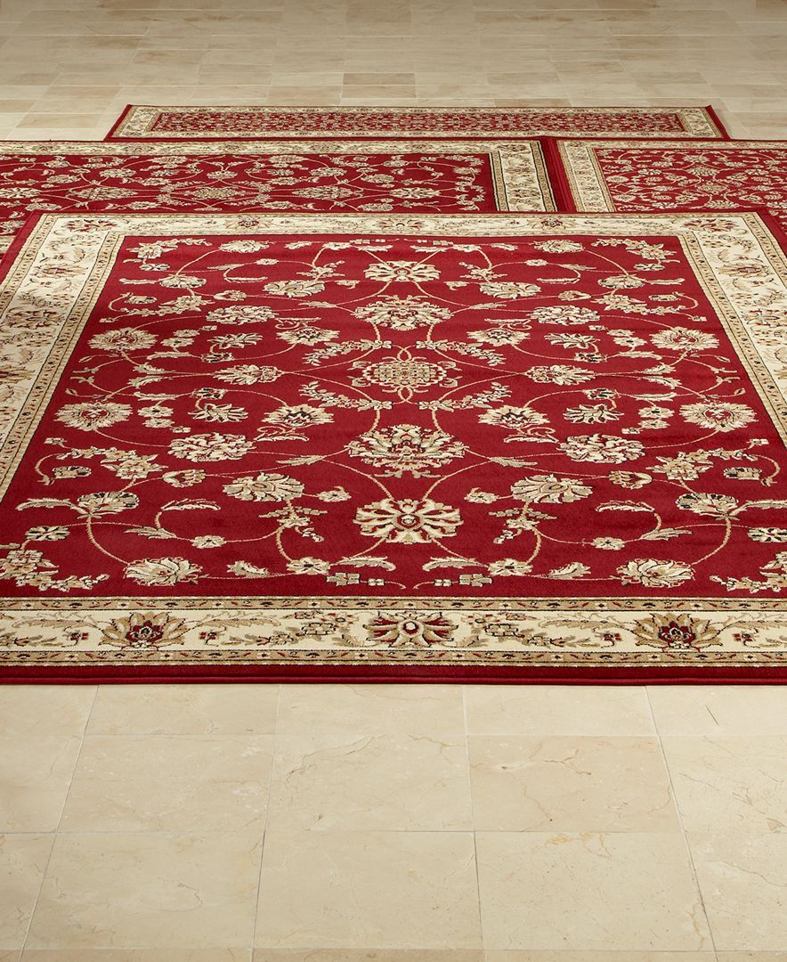 km home area rug set florence collection 4 pc set isfahan red