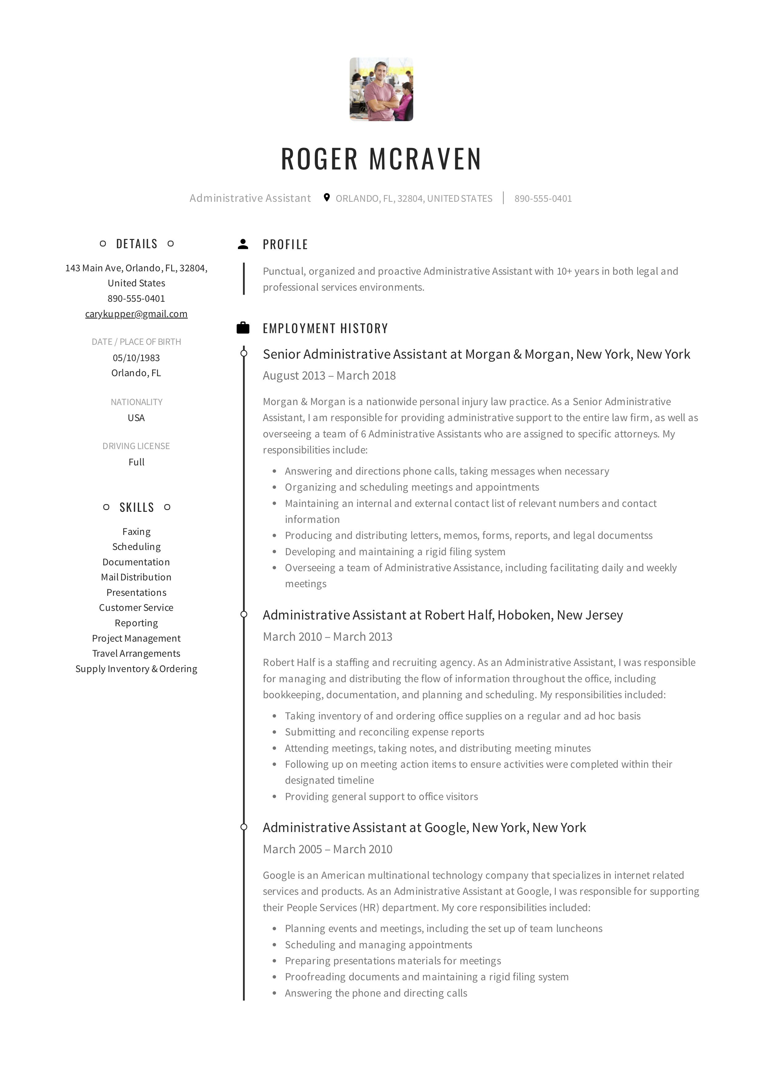 Free Administrative Assistant Resume Sample Template Example Cv Formal Design Administrative Assistant Resume Resume Cover Letter Examples Resume Examples