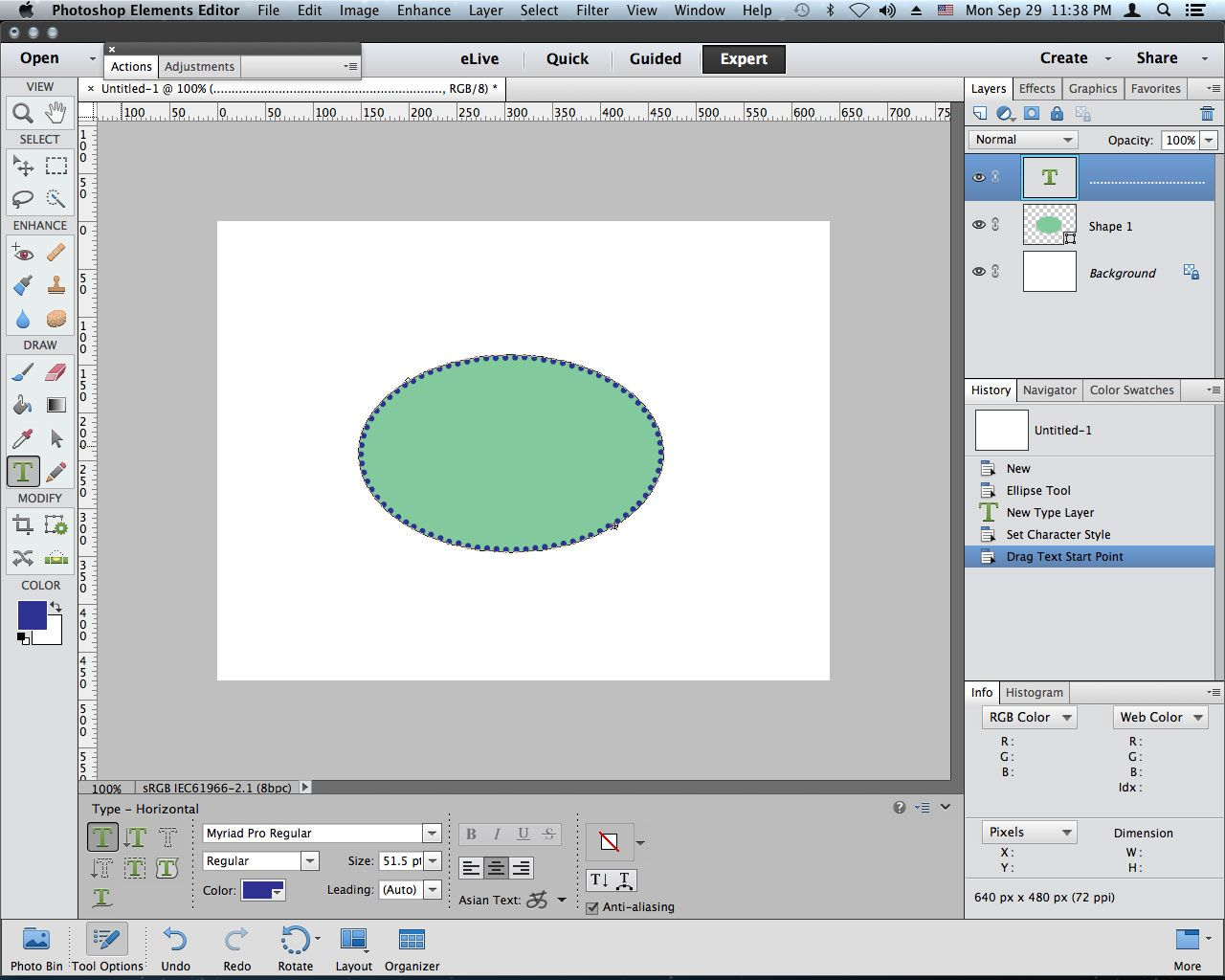 circle or ellipse with dotted border (text on shape tool