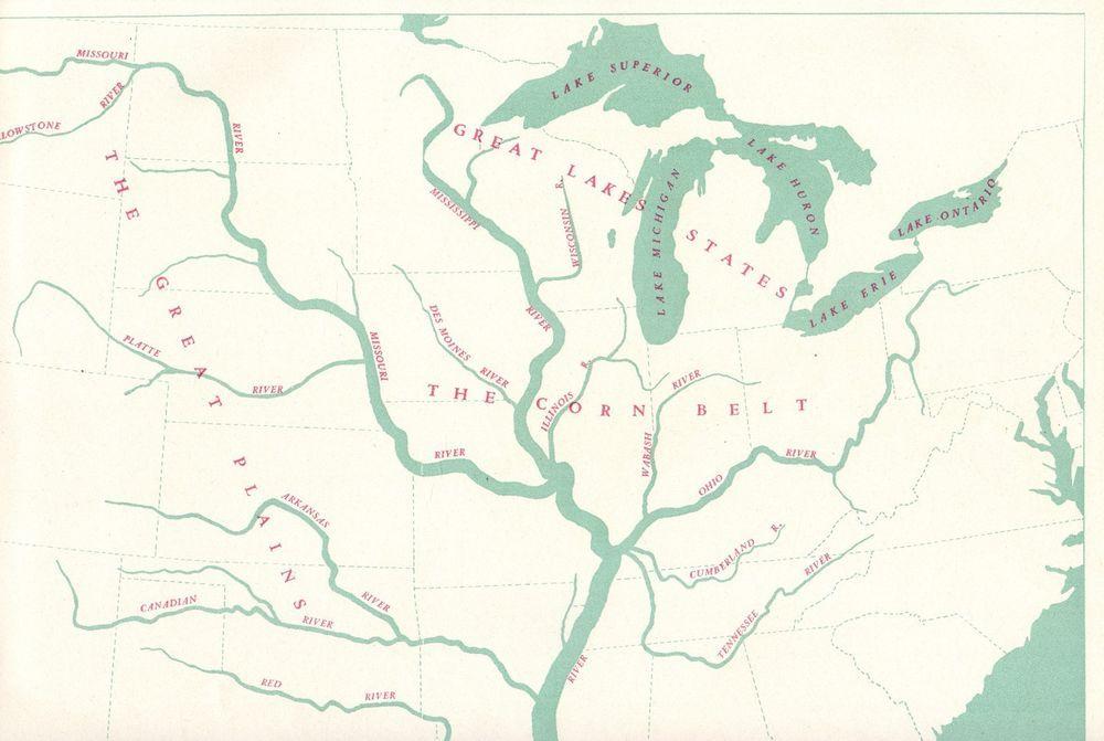 1942 Antique UNITED STATES Map RIVER BASINS Map Rare Poster Print ...