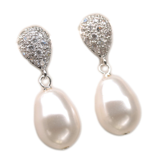 Teardrop Stud Earrings Pearl Dangle Drop By Lizardibridal 36 00
