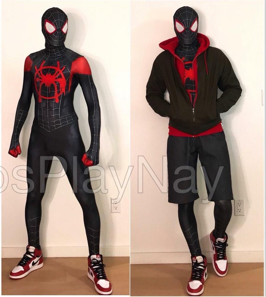 Spiderman Costume Into The Spider Verse Miles Morales Halloween Costumes Classic Cosplay Suit Adult Kids