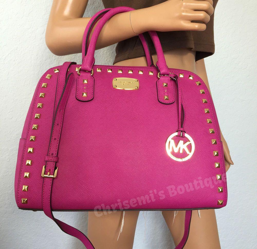 Michael Kors Large Satchel Saffiano Leather MK Pink